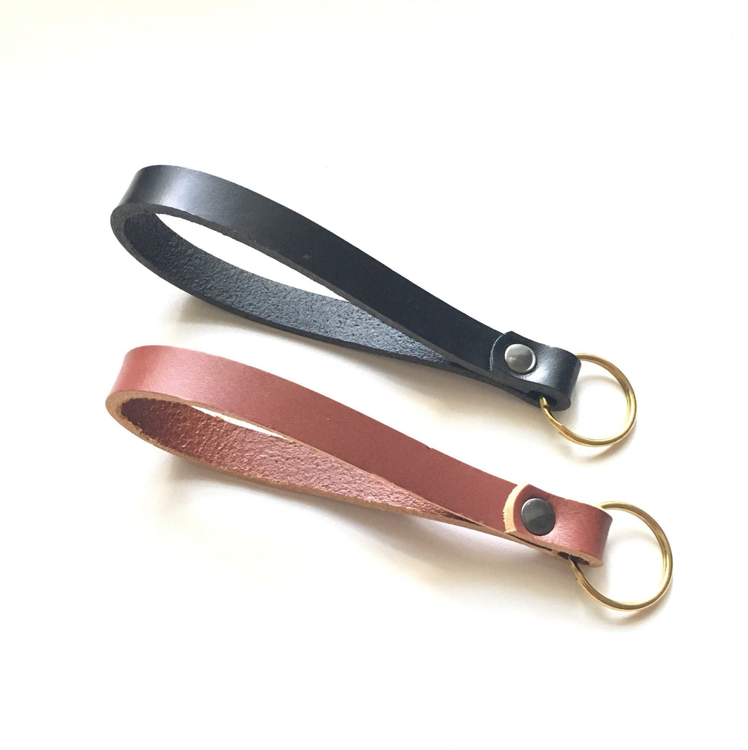 WRISTLET STRAP Leather + Solid Brass • Brass Keychain • Choice of Leather • Key Lanyard Accessory