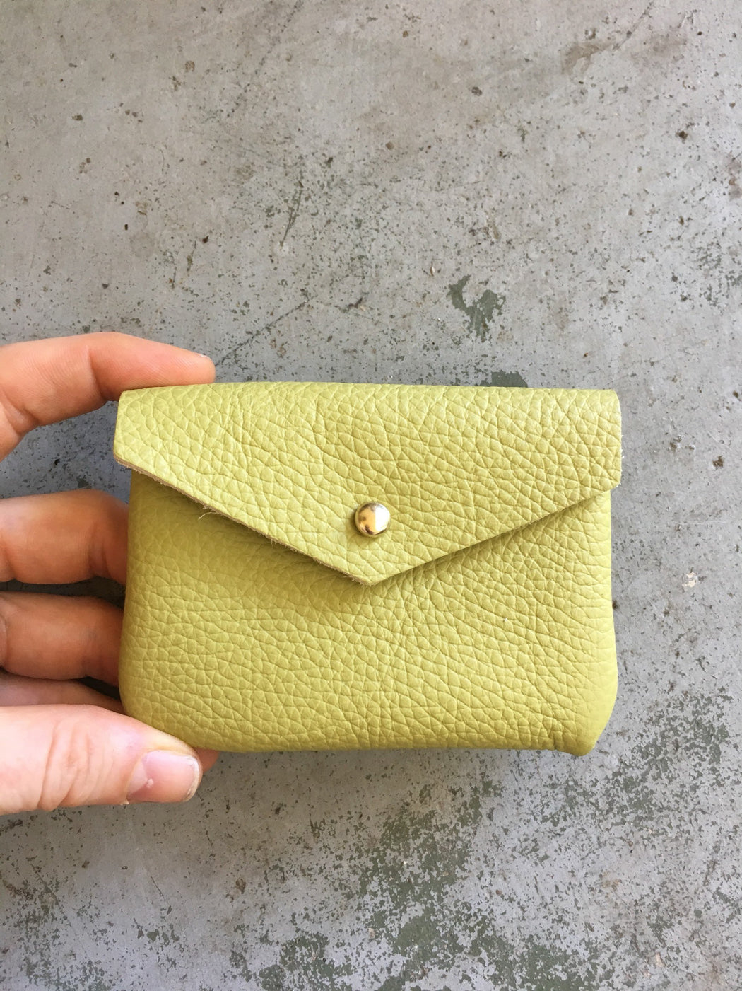 Limited Edition CARD WALLET Lime Green Leather • Business Card Holder • Credit Card Case • Woven Embossed