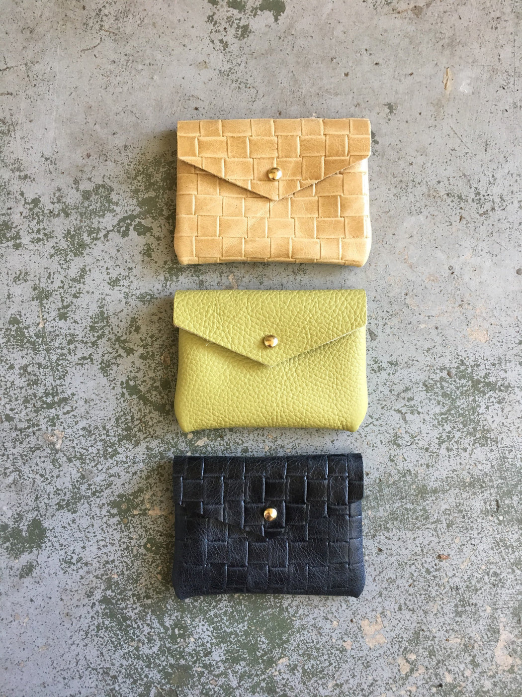 CARD WALLET Buttery Yellow Leather • Business Card Holder • Credit Card Case • Woven Embossed • Limited Edition