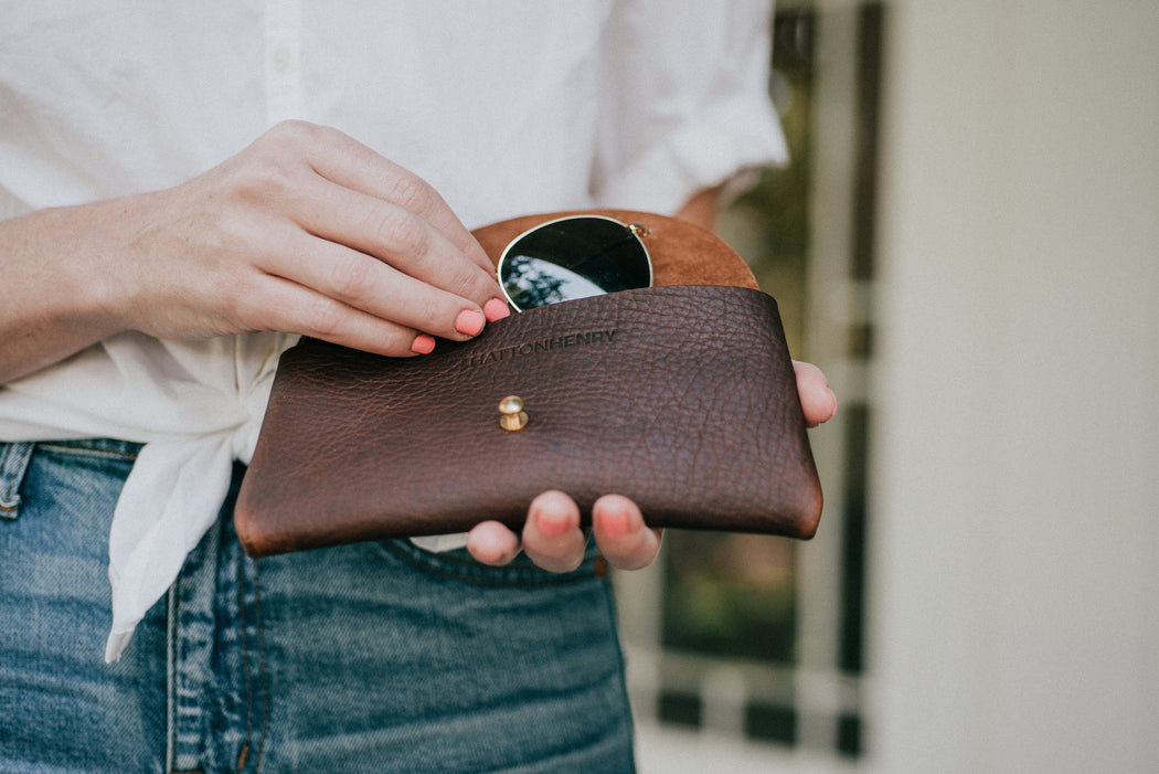 leather oil tanned henna brown rough out suede sunglasses case handmade in Austin, Texas woman owned 4th generation Hatton henry