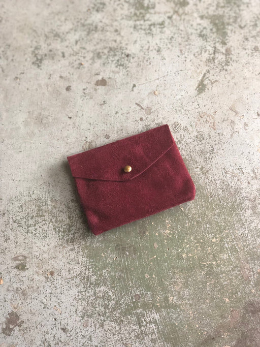 CARD WALLET Maroon Suede • Business Card Holder • Credit Card Case • Limited Edition