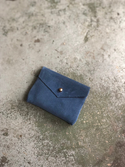CARD WALLET True Blue Suede Leather • Business Card Holder • Credit Card Case • Limited Edition