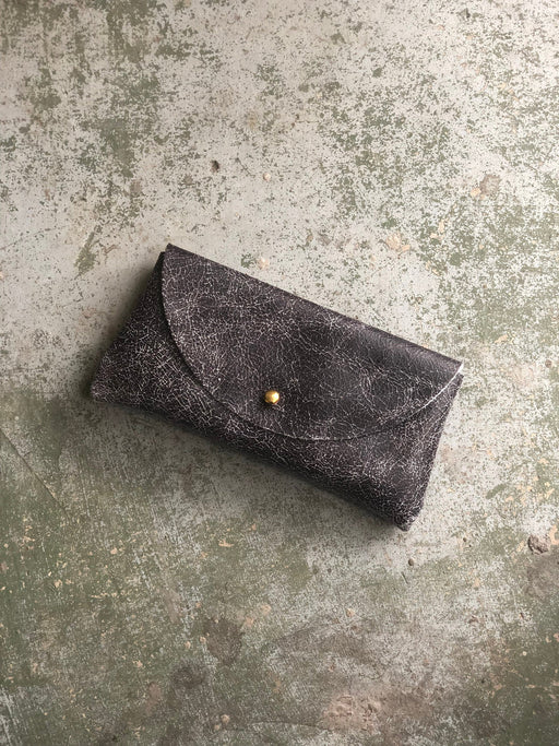 SUNNIES CASE Black Crackle Leather • Textured Leather Sunglasses Pouch or Wallet • Limited Edition