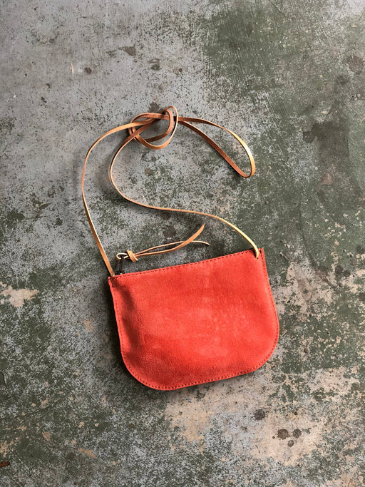 LIMITED EDITION Luna Crossbody Tangerine Suede • Minimal Leather Bag