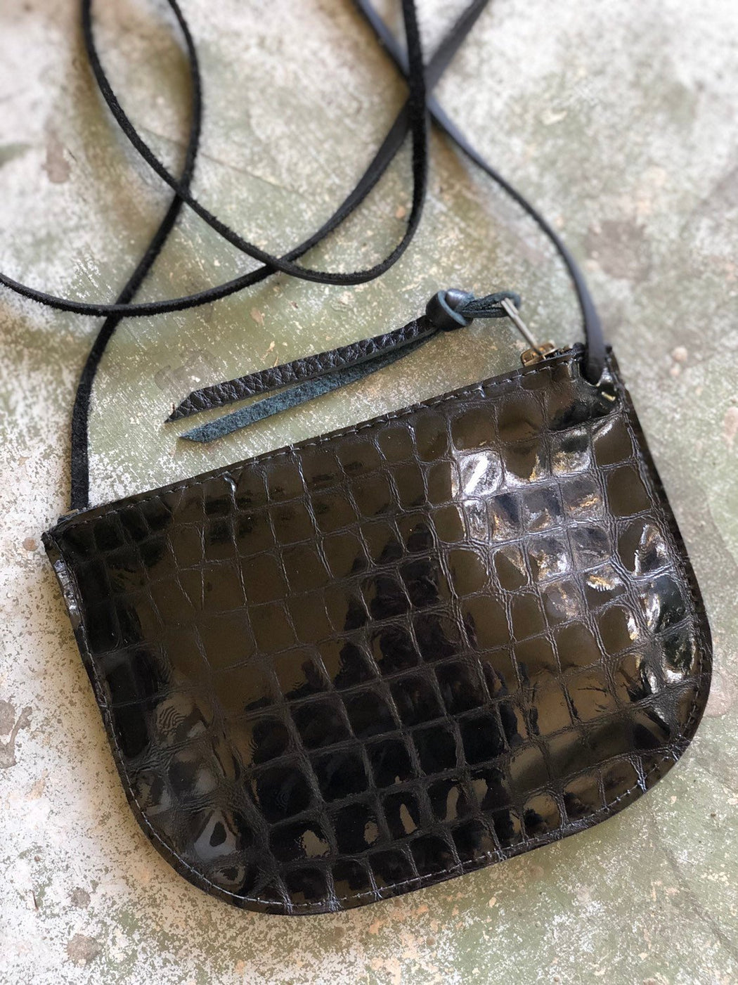 Limited Edition LUNA CROSSBODY Black Serpent Patent Leather • Small Leather Bag
