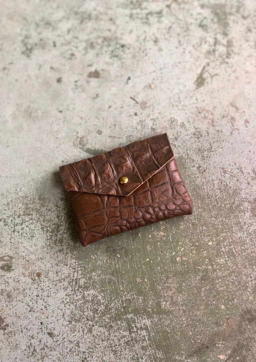 CARD WALLET Crocodile Brown • Dark Brown Embossed Cowhide Leather Business Card Holder • Credit Card Case • Limited Edition