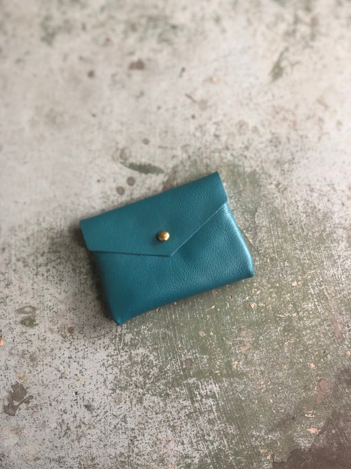 CARD WALLET Soft Turquoise Leather • Business Card Holder • Credit Card Case • Limited Edition