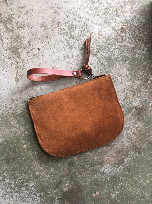 LUNA POUCH Rust Rough Out Leather • Oil Tanned Leather Zip Bag • Optional Wristlet Strap