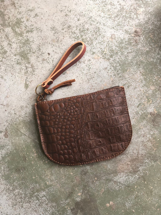 LUNA POUCH Crocodile Embossed Leather • Brown Leather Zip Bag • Optional Wristlet Strap