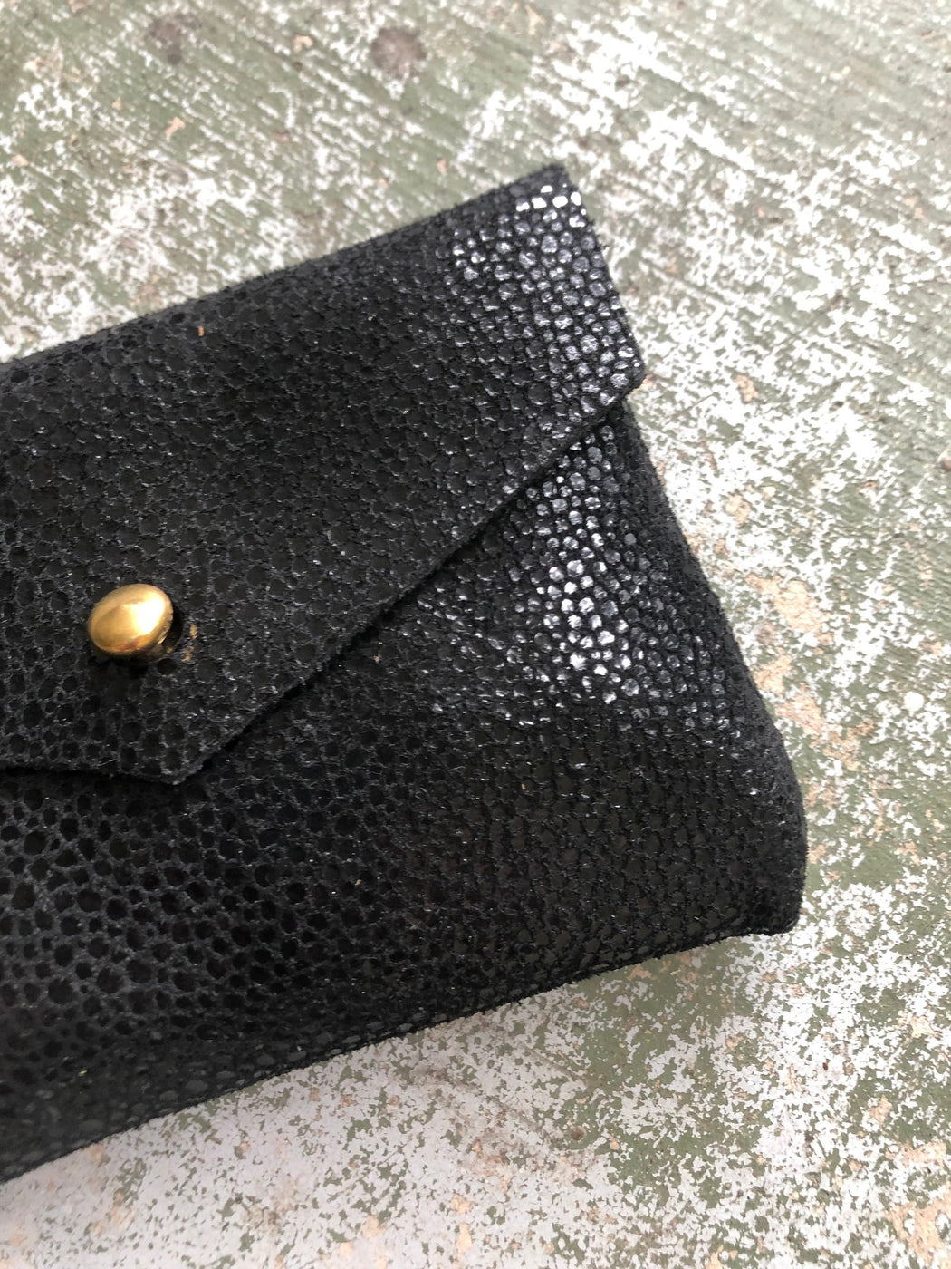 CARD WALLET Mock Stingray Leather • Black Patterned Business Card Holder • Credit Card Case • Limited Edition