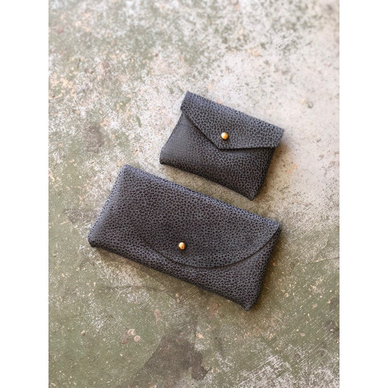 CARD WALLET Pebbled Denim Blue Leather • Business Card Holder • Credit Card Case • Limited Edition