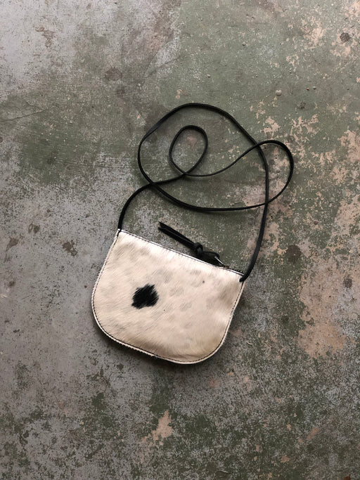 LUNA CROSSBODY White & Black Hair-on Speckled • Calf Hair Leather Bag • Black Leather Trim