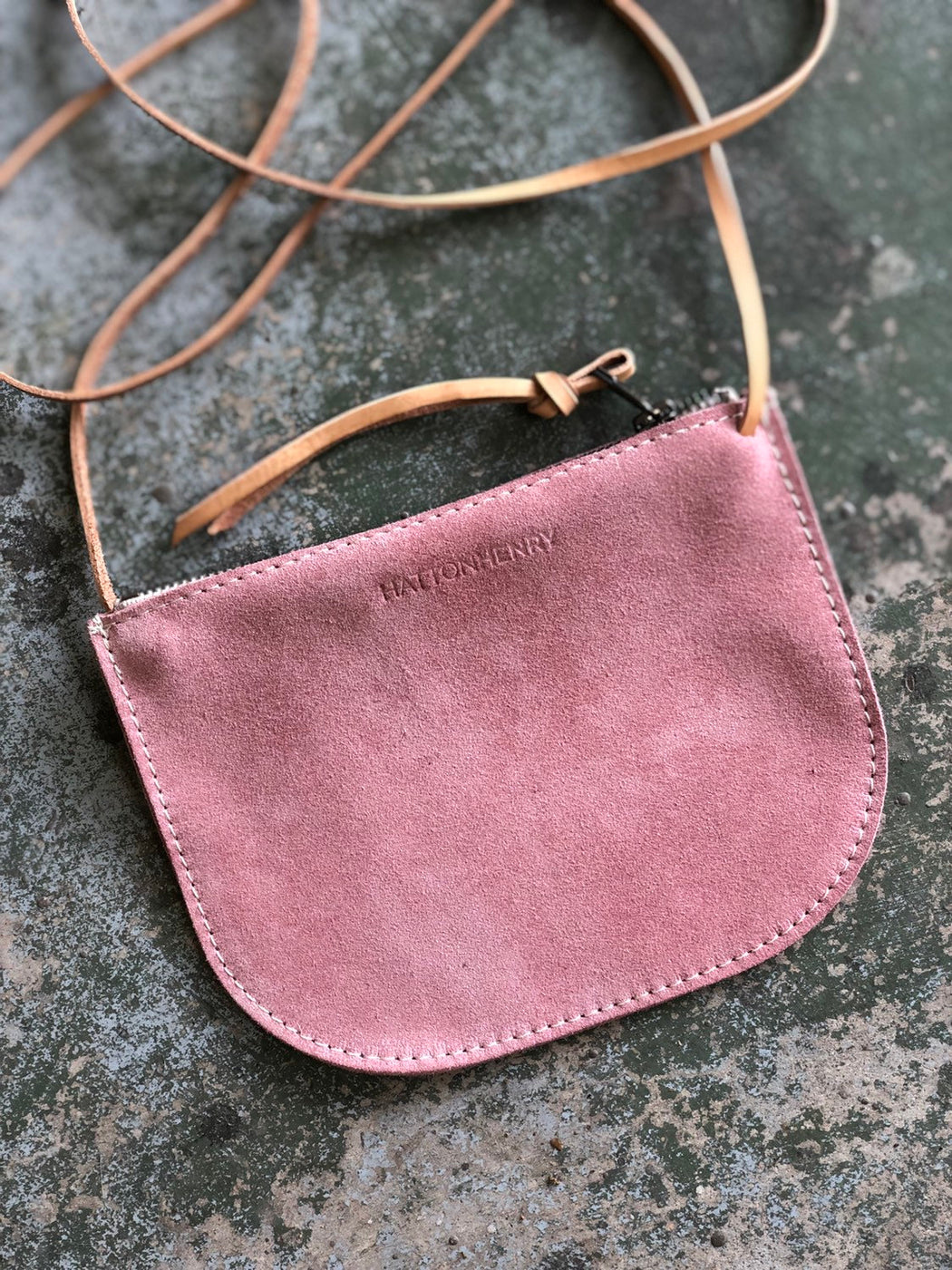 LIMITED EDITION Luna Crossbody Rose Pink Suede • Minimal Leather Bag
