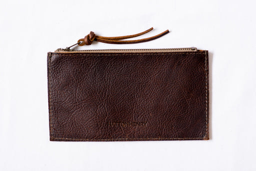 Distressed Leather Wallet • Oxblood Rustic Leather Zipper Pencil Case
