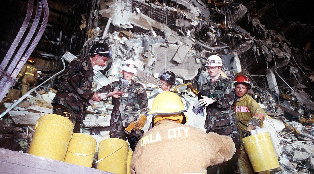 AP Murrah Building Oklahoma City Bombing during rescue and recovery