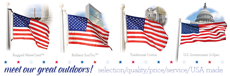 100% American-made outdoor American flags!