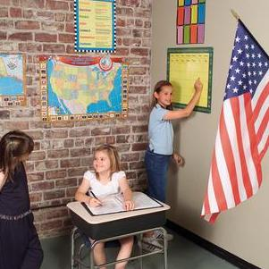 Girls with 100% American made Classroom Flags by Liberty Flags