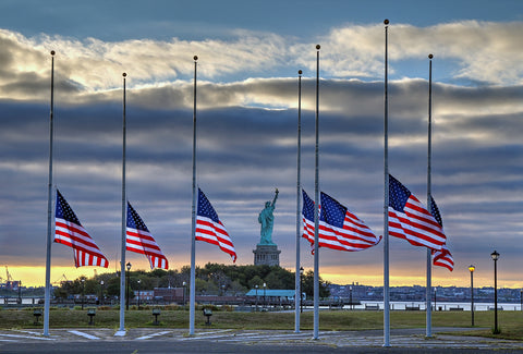 Flags at half-staff at the Statue of Liberty