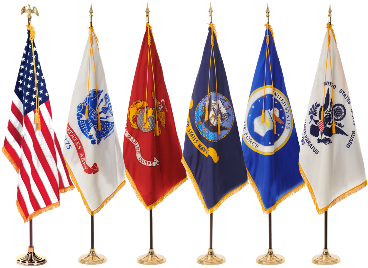 Ceremonial American and U.S. Military Flags Set of Six