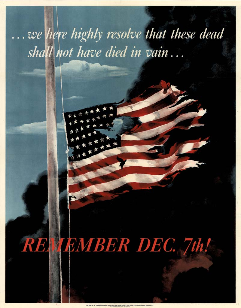 Remember December 7!, by Allen Saalburg, poster issued in 1942 by the United States Office of War Information