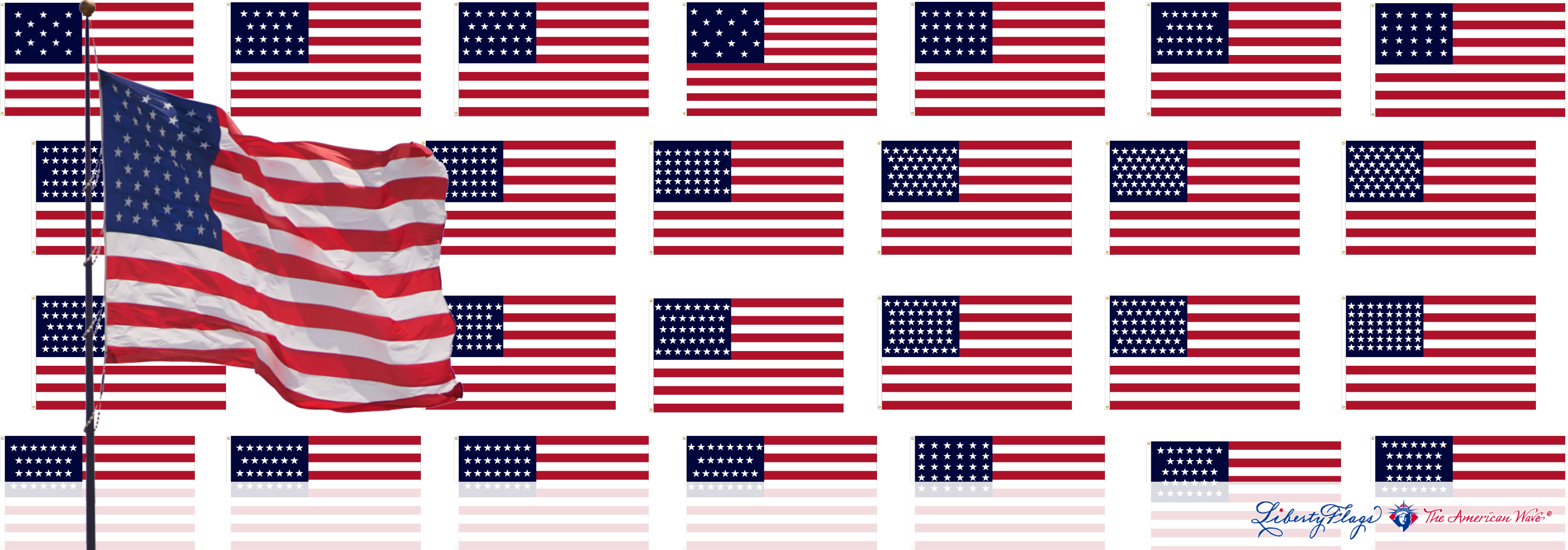 Historic Star Pattern American Flags from LIBERTY FLAGS, The American Wave®