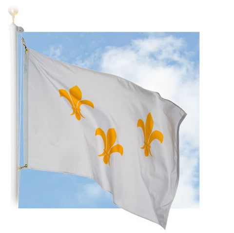 Fleur-de-lis Outdoor Historic Flags (white with 3-fleur)