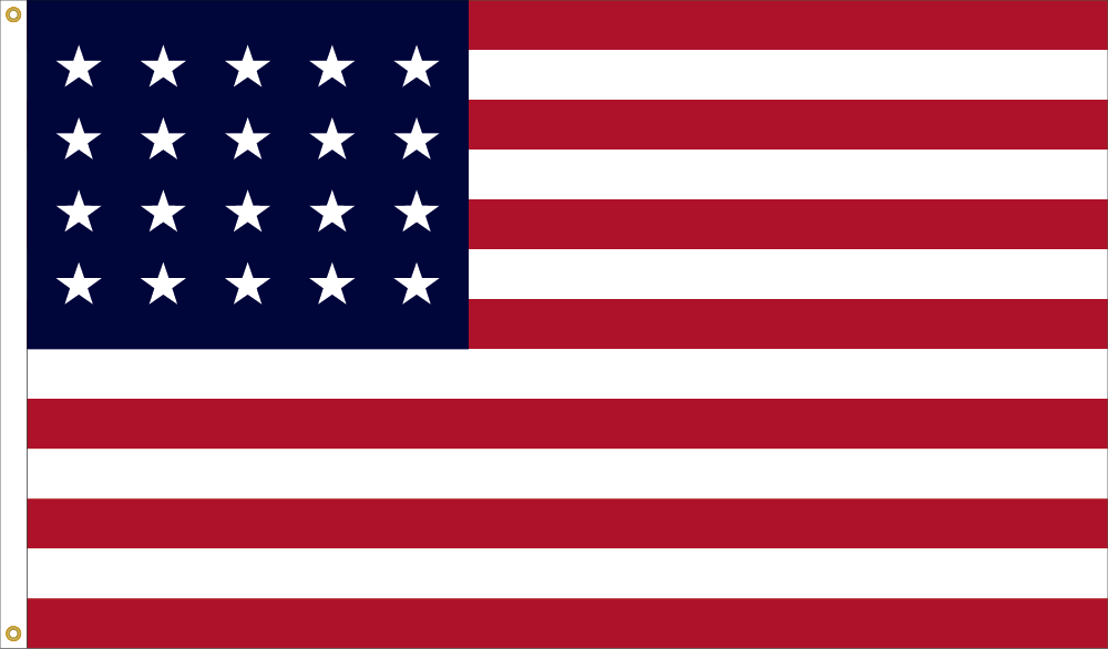 1818 United States Flag Design, with LIBERTY FLAGS, The American Wave®