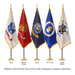 Military Ceremonial Flags & Display Sets - Set of 5