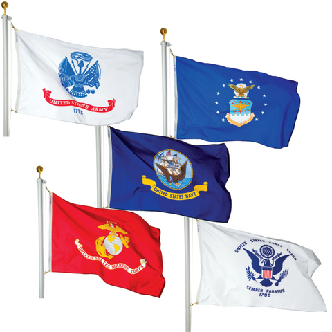 Military Polyester Outdoor Flags -  Set of 5 flags only