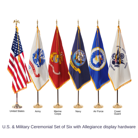 United States and U.S. Military Ceremonial Flags & Display Sets - Set of 6