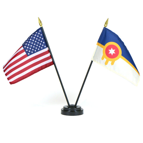 Tulsa and U.S. Desk Flag Sets