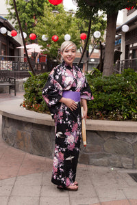 Women's Kimono Flying Cranes and Peonies
