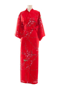 Women's Yukata  Plum Blossoms and Bush Warblers