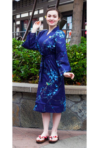 Women's Happi Coat Plum Blossoms & Bush Warblers