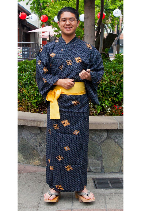 Men's Yukata : Diamond Pattern