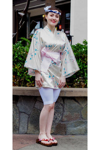Women's Happi Coat Small White Cherry Blossoms