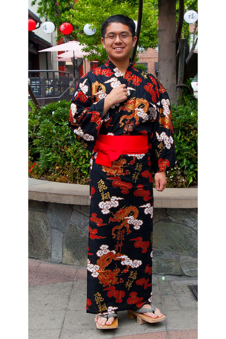 Men's Yukata : Dragons & Clouds