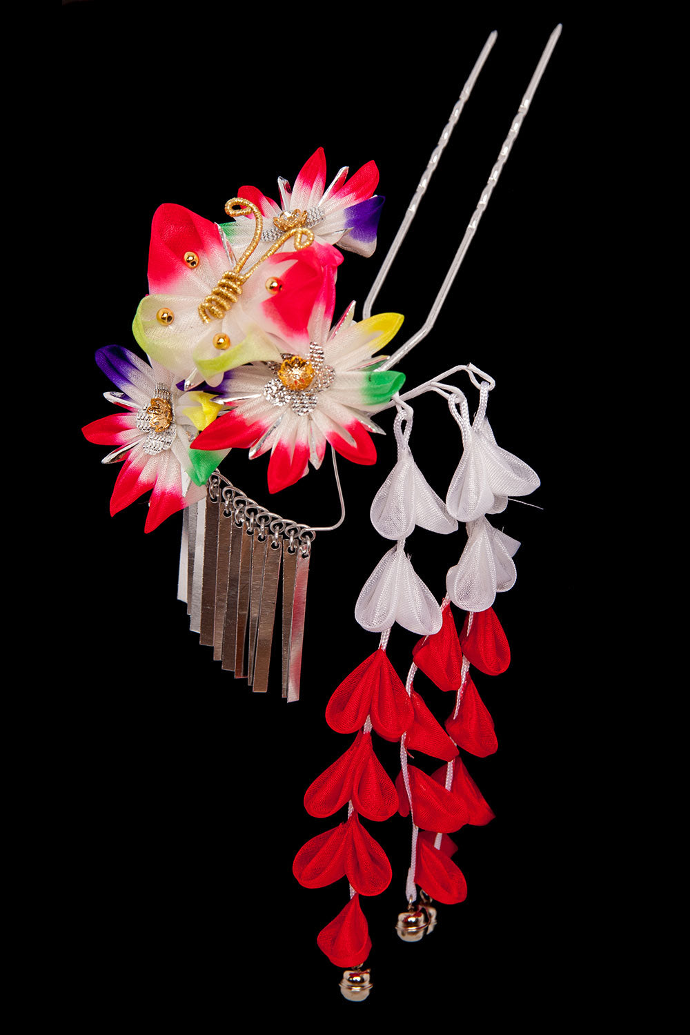 Kanzashi Prong Flower Red Large