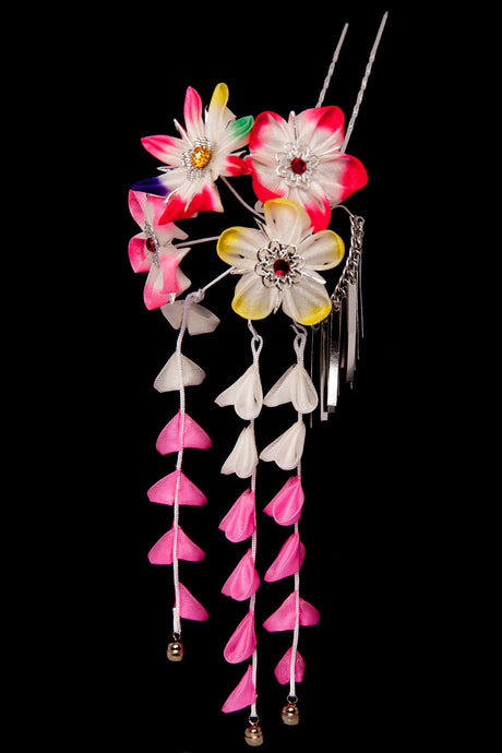 Kanzashi Hairpin Flower Pink Large