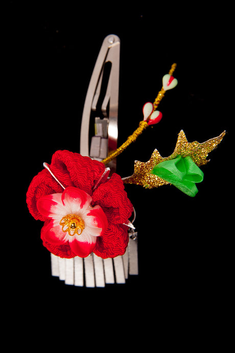 Kanzashi Hair Clip Red