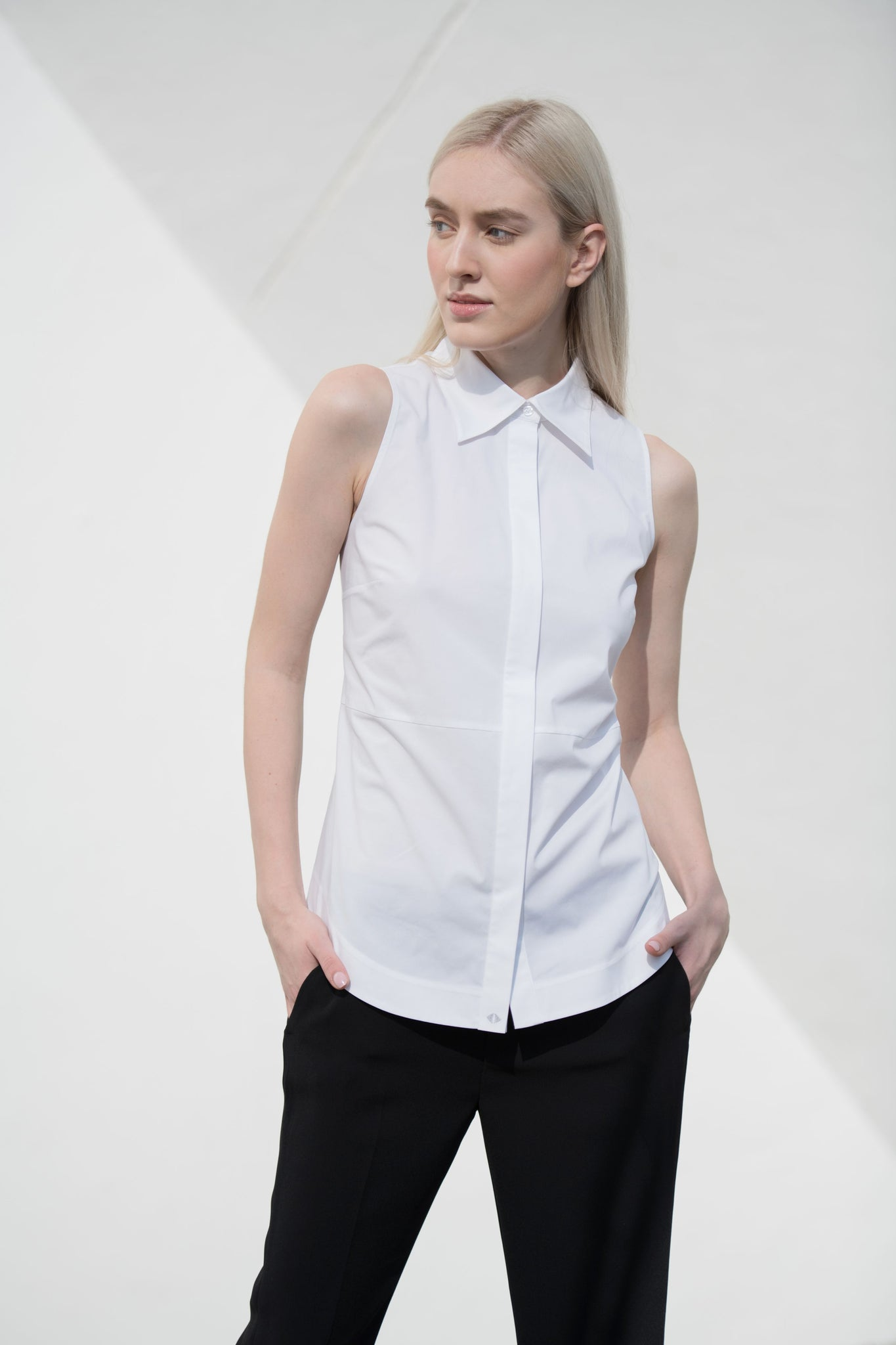 Hudson Sleeveless Button Down women's white blouse - Less than none Greater than