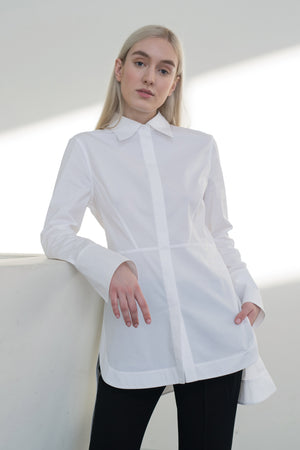 Prince Button Down women's white blouse - Less than none Greater than