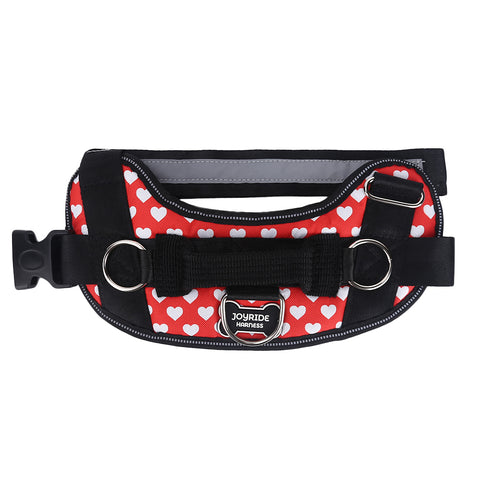 Red Hearts Dog Harness
