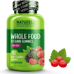 NATURELO® Health and Beauty Children's Whole Food Gummies with Natural Vitamins, Fruit Extracts & NO Sugar - 90 Gums | 1, 2 or 3 Month Supply (Vegan)