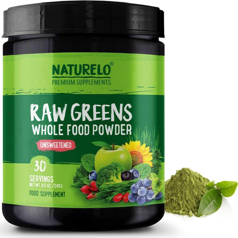 NATURELO® Health and Beauty Raw Greens Powder with Grasses, Probiotics and Superfoods - Unsweetened - 30 Servings (Vegan)
