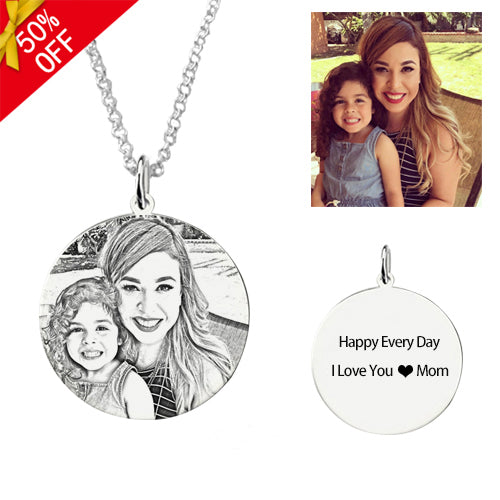 Full Color - Round Shape Photo Necklace Sterling Silver