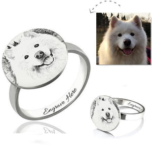 Personalized Pet Photo Engraved Ring