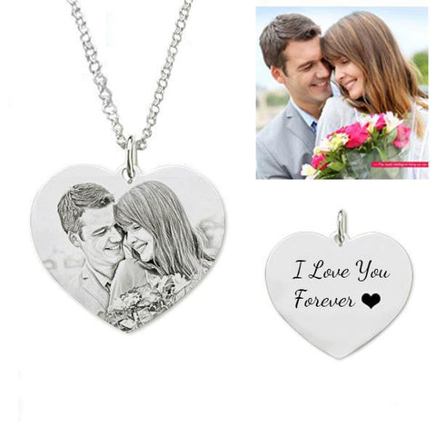 Customize Photo Necklace Heart Shape - Sketch