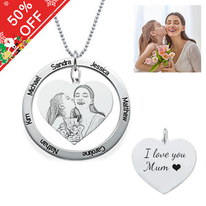 Personalized Photo Heart Necklace With Carved Names