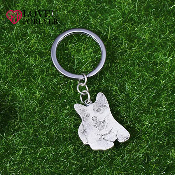 Custom Pet Photo Engraved Keychain Sterling Silver